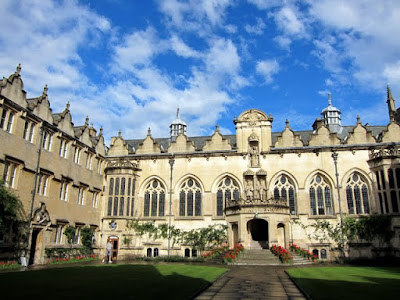 Oriel College courtyard at Oxford University in England