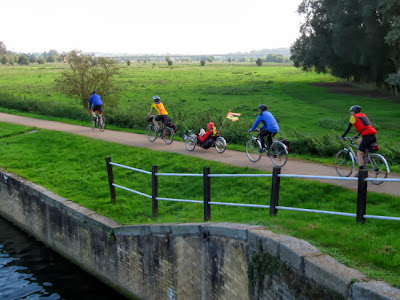 cycling next to river