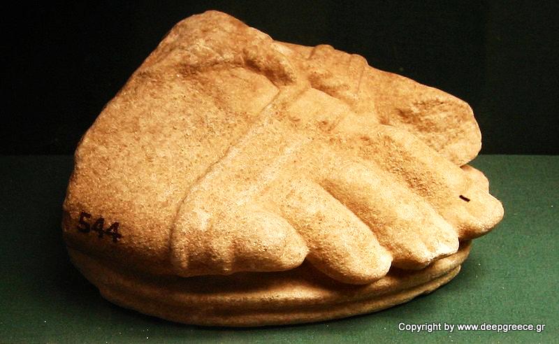 foot of statoue deepgreece arcadia ilia andritsaina