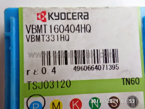 Insert Bubut KYOCERA VBMT160404HQ   VBMT331HQ   NT60   Cermet