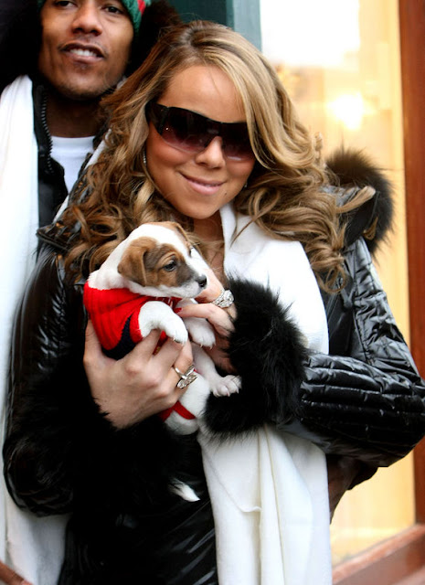 Mariah Carey and a puppy