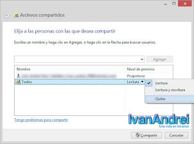 Compartir archivos y carpetas en Windows 8.1