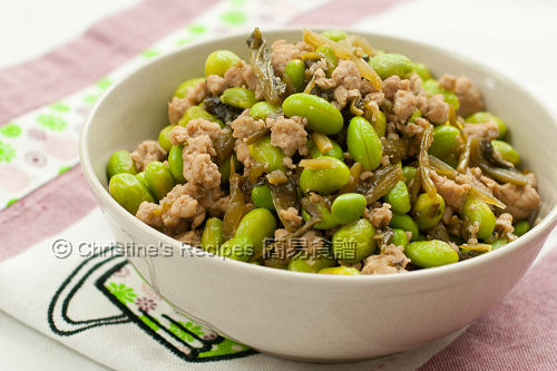 毛豆雪菜炒肉鬆 Stir Fried Green Soy Beans with Pork Mince02