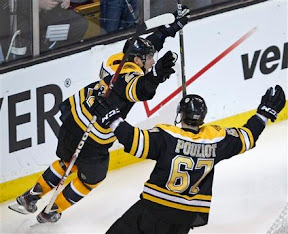 Chris Kelly and Benoit Pouliot celebrate Bruins overtime winning goal