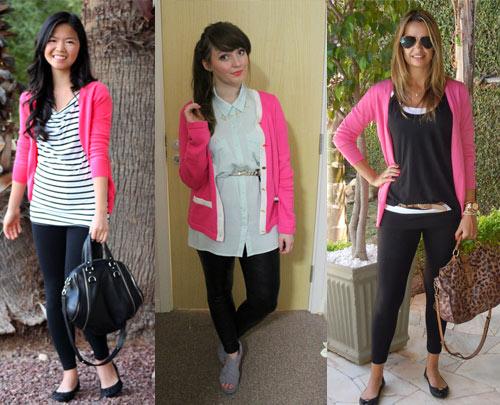 Como usar cardigã rosa com legging preta