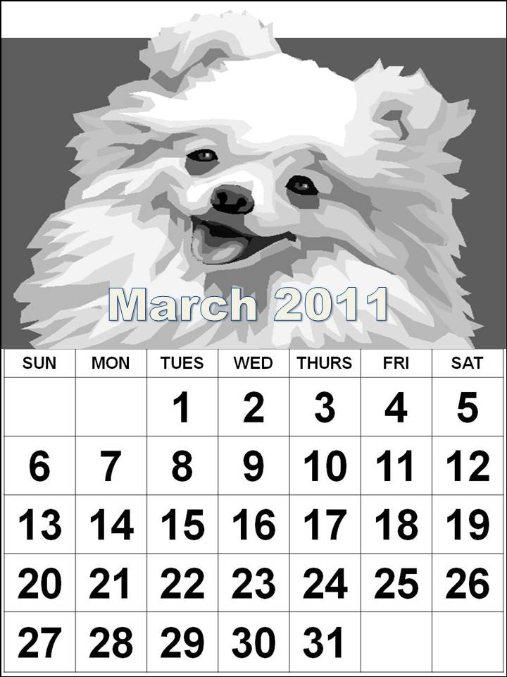monthly calendar march 2011. March 2011 Calendar colouring