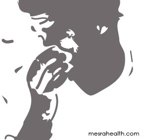 Artwork of man holding his nose because of flu.
