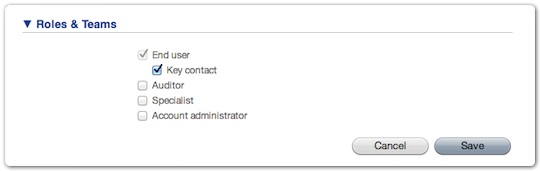 Selection of the Key Contact role in the ITRP Person form