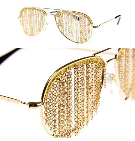 Gold chain sun glasses