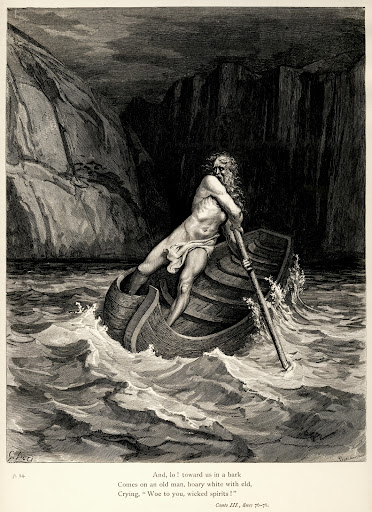 charon on his boat ~ gustave doré