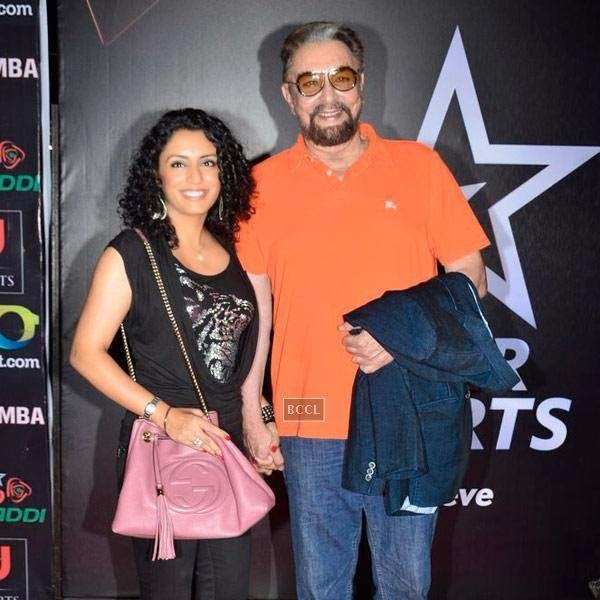 Kabir Bedi and his wife Parveen Dusanj during the opening match of Pro-Kabbadi League, held in Mumbai, on July 26, 2014. (Pic: Viral Bhayani) <br />