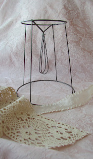 Angela lace how to cover a lampshade the easy way i had a few lamp frames made out of metal wire and i would like to show you how i covered them using some decorative ribbon and a bit of lace aloadofball Choice Image