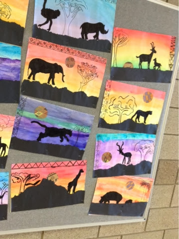 Art at becker middle school silhouettes of the serengeti for Arts and crafts for middle school