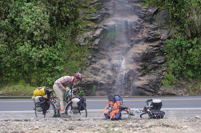 Enjoying the waterfalls on the way to Puyo