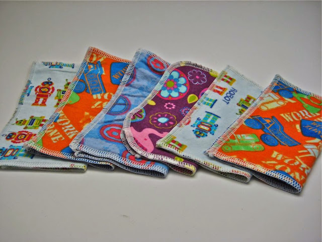 Set of 6 Flannel Cloth Wipes