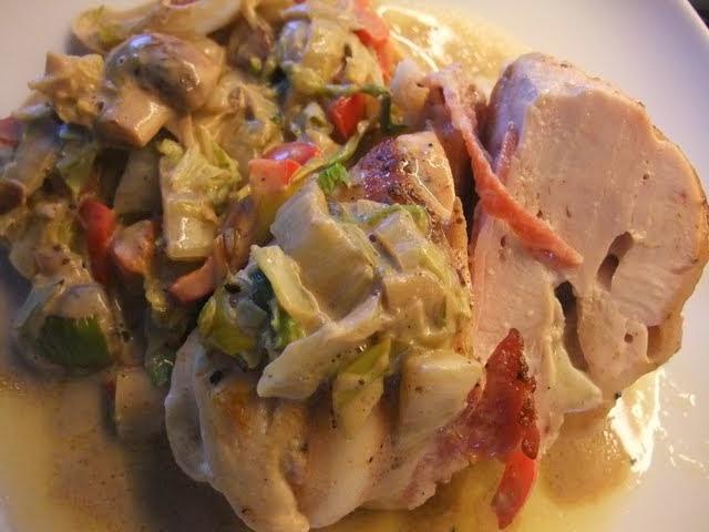 kyllingfilet med bacon og brie