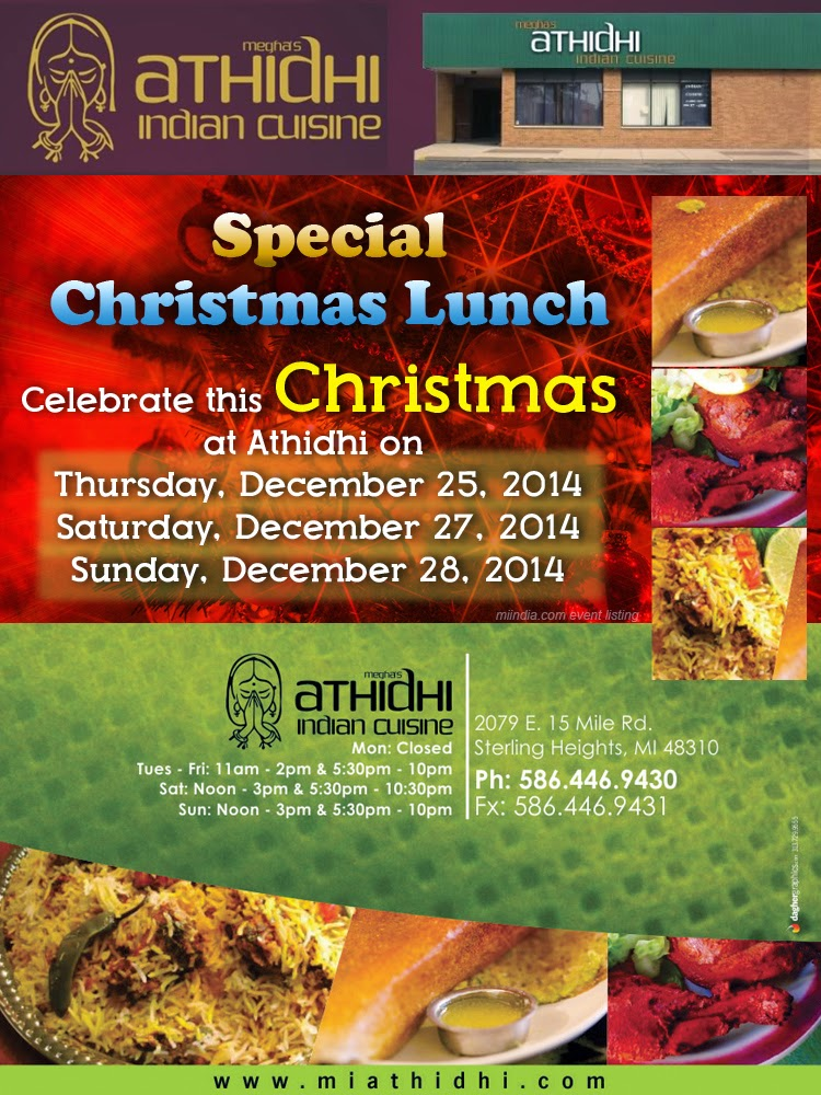 Christmas special lunch buffet athidhi cuisine for Athidhi indian cuisine