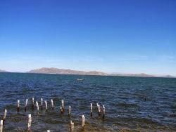 El lago Titicaca desde Huatajata, la península de Copacabana al fondo