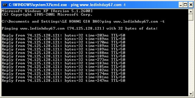 Ping www.ledinhduy67.com