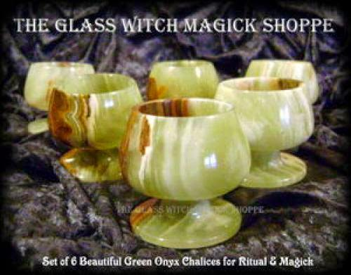 Set Of 6 Beautiful Green Onyx Chalices For Ritual And Magick Ac 30 00