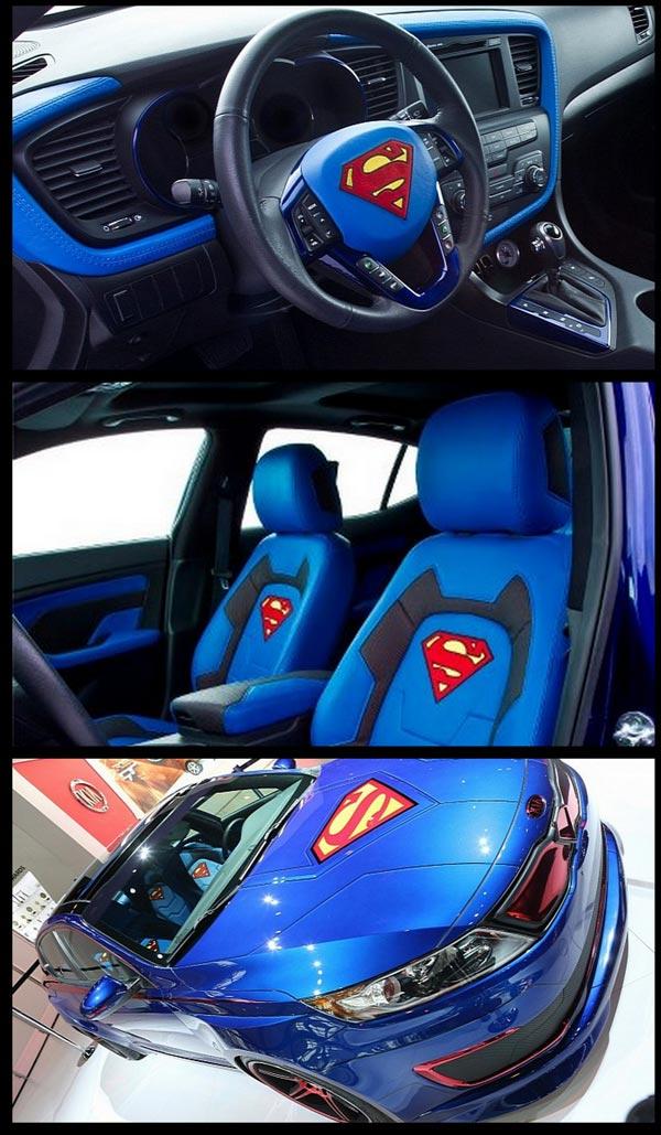 Seperti Kereta Batman Kia Optima Keseluruahan Hiasan Dalaman Dan Luaran Kenderaan Superman Ini Diilhamkan Oleh Kal El Luar Nampak Ok Tapi Dalam