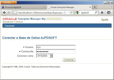 Configurar Oracle 10g para acceso a Oracle Enterprise Manager Database Control en Windows Server 2008 R2