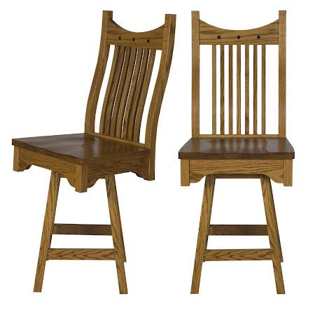 Western Swivel Seat Barstool in Medium Oak