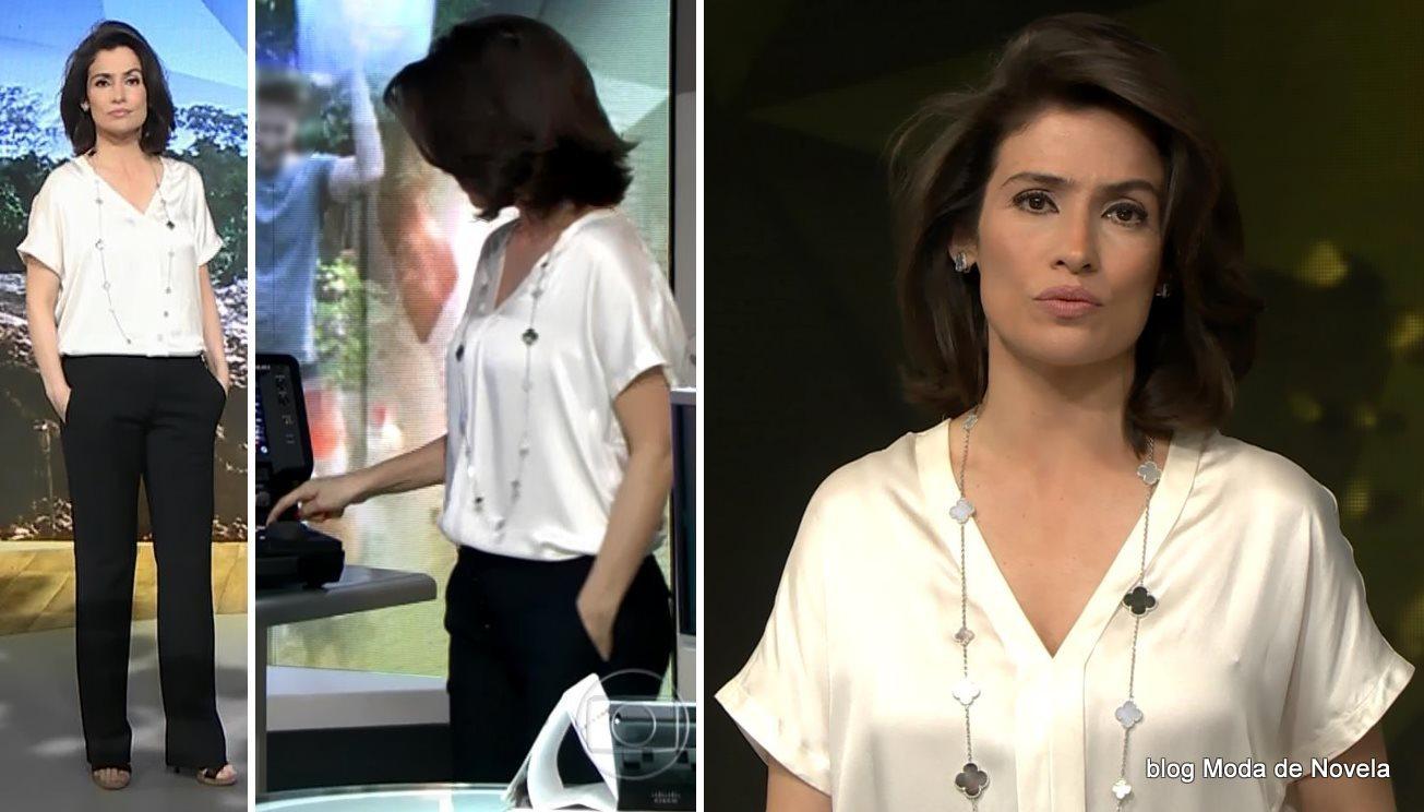 moda do programa Fantástico - look da Renata Vasconcellos dia 31 de agosto