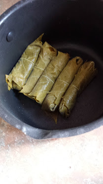 Dolmades in a pan