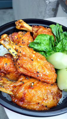 Mama Chow's Kitchen justifiably raved about lollipop wings with honey soy garlic glaze with jasmine rice and baby bok choy