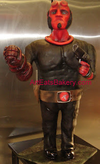 Hellboy figure 46 inch tall custom fondant and chocolate sculpture birthday cake with gun 5