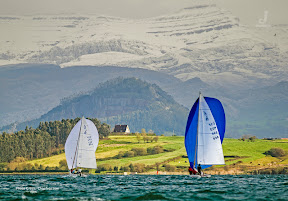 J/80 sailboats- sailing off Santander, Spain