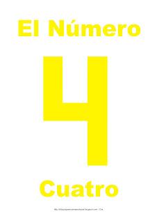 Lámina para imprimir el número cuatro en color Amarillo