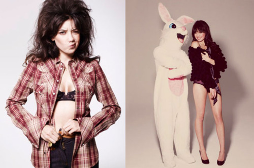 Daisy Lowe and her bunny prop make this photo shoot fun.