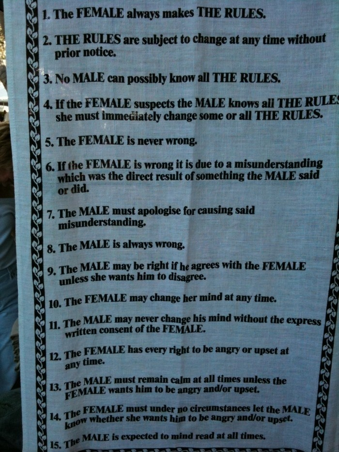 Male - Female : The Rules