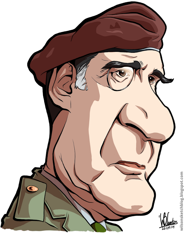 Cartoon caricature of António de Spínola.