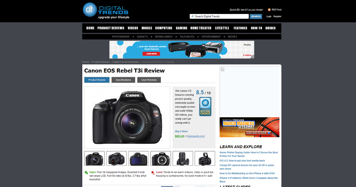 AG's Blog: Canon EOS Rebel T3i Review