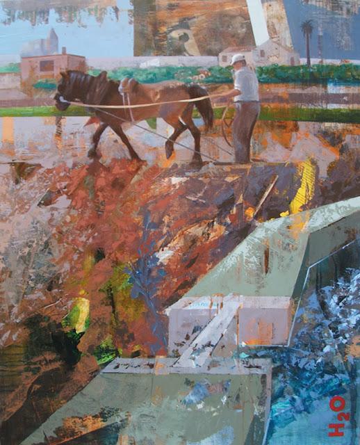 trabajando la tierra,pintura técnica mixta del pintor Jose Miguel Alguer Romero