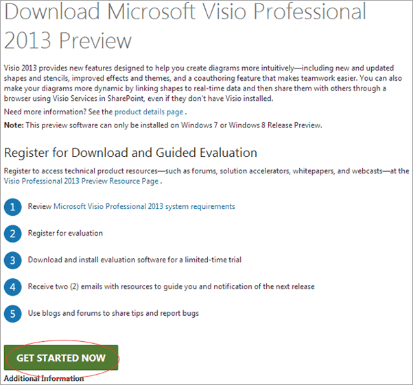 Start to Download Microsoft Visio Professional 2013 Preview