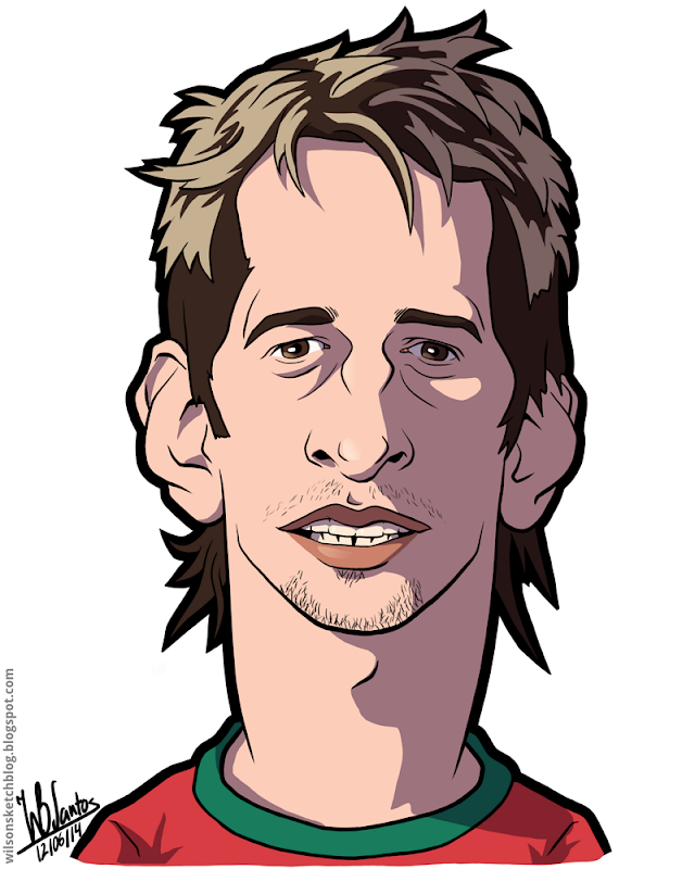 Cartoon caricature of Fábio Coentrão.