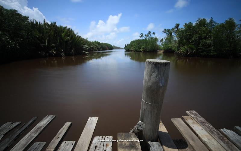 Gambar sungai di tepi pantai Pulau Kerengga