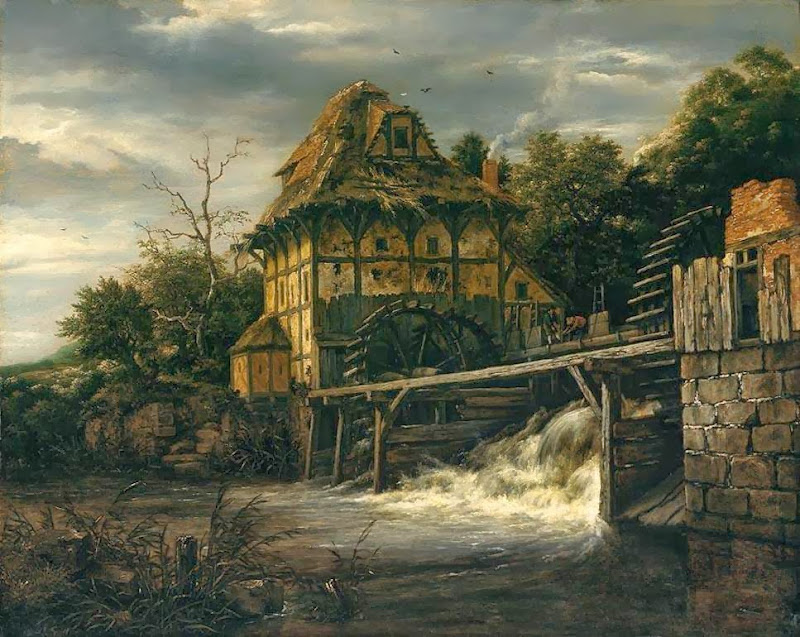Jacob van Ruisdael - Two Undershot Watermills with Men Opening a Sluice