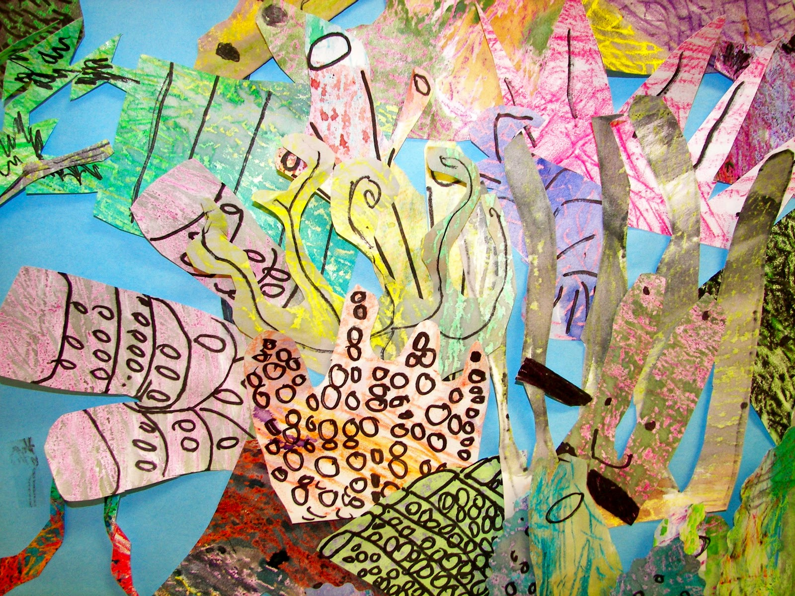 Organized chaos kindergarten and 2nd grade coral reef mural for Coral reef mural