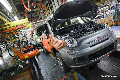 Fiat 500 on the assembly line