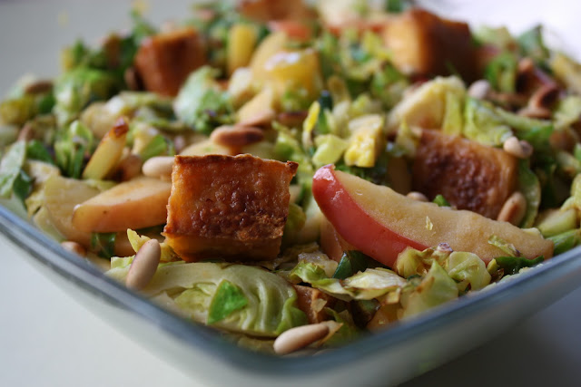 Shredded Brussel Sprouts with Apples and Pinenuts (Tofu optional ...