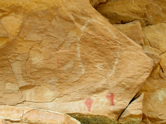 Red and white pictographs