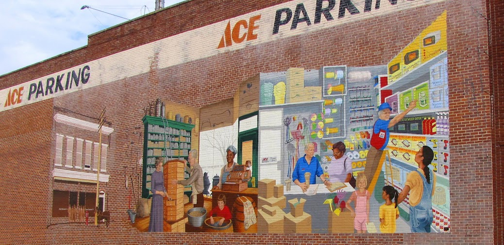 A mural on an Ace Hardware store