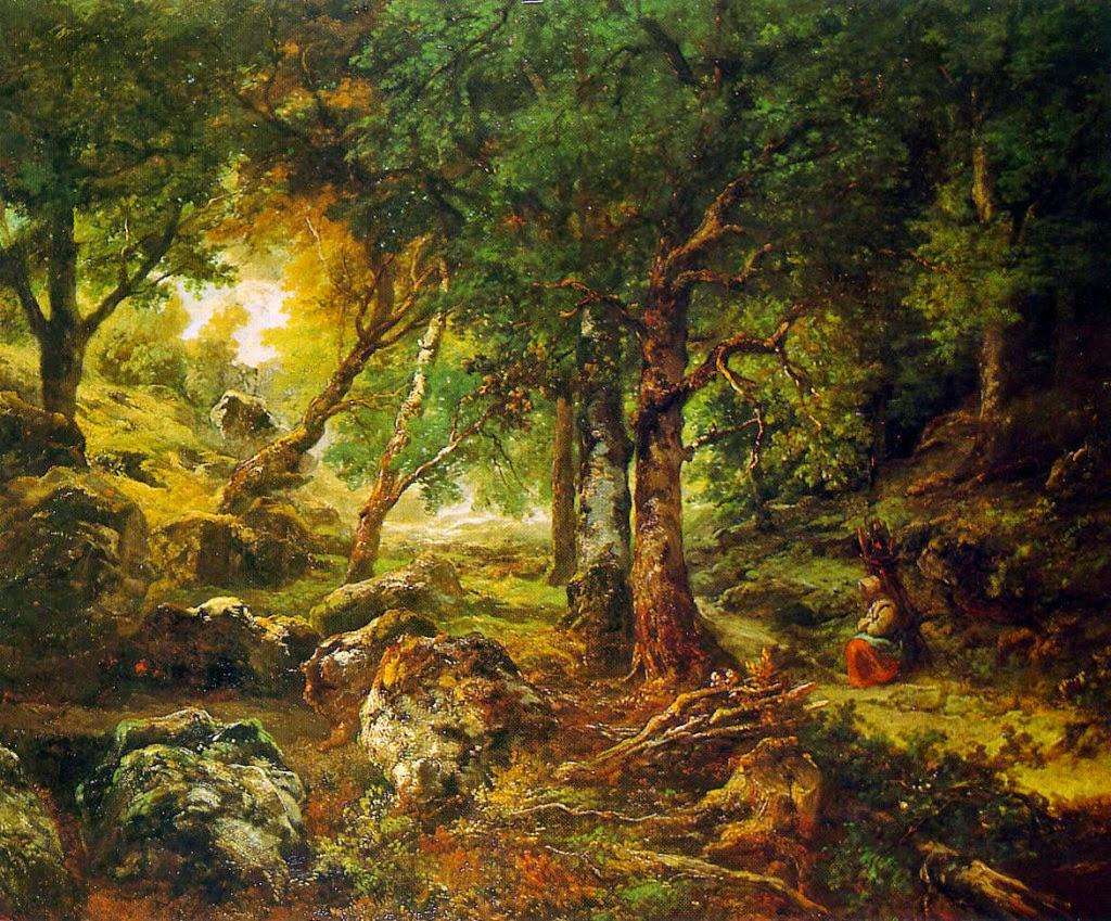 Théodore Rousseau - Forest landscape Sun