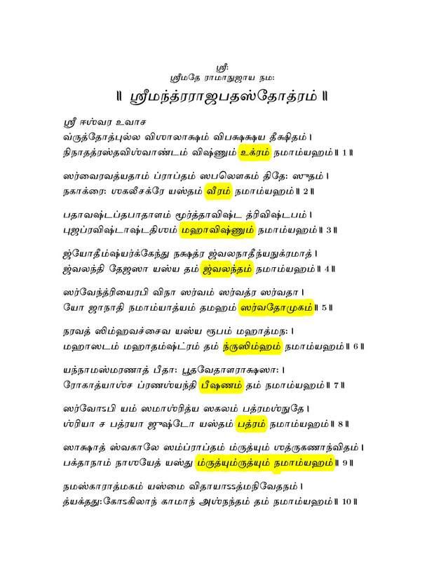 Sri Lakshmi Narasimhar: Sri Narasimha Anushtup Mantram