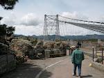 Dad walking to the bridge